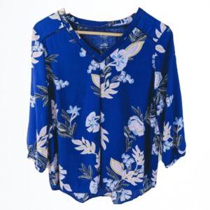 St John's bay cobalt floral blouse